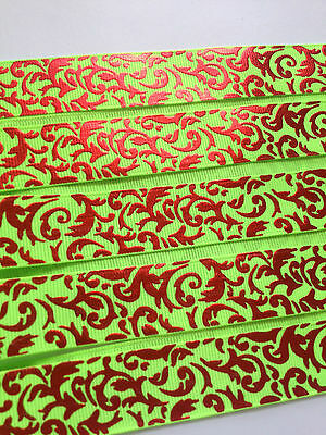 """Bright Lime with Red Foil Swirl 7/8"""" Printed Grosgrain Christmas Ribbon 1m"""