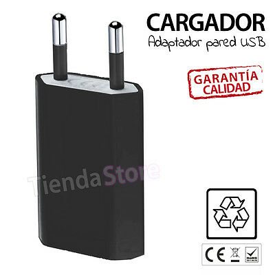 Cargador Corriente Usb Red Pared Universal Para Telefonos Moviles Negro 5V 1A
