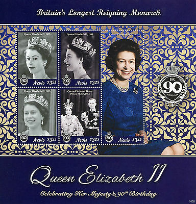 Nevis 2016 MNH Queen Elizabeth II 90th Birthday Longest Reigning 5v M/S Stamps