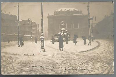 34 Herault- Montpellier Sous La Neige 1922 - Carte Photo - Place De La Comedie