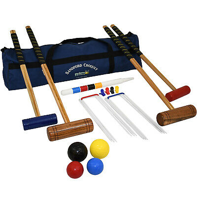 Garden Games Sandford Family Croquet Set Children Adults Mallets And Balls Game
