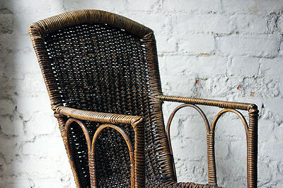 Antique Charming Edwardian Period Wicker Open Armchair Attributed to Dryad c1910