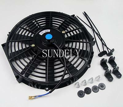 Universal 14Inch Straight Blade Electric Cooling Radiator Fan Kit Car Push Pull