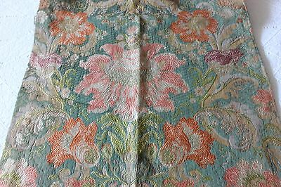 Stunning 19thC Antique French Silk Brocade With Metallic Threads Curtain Panel