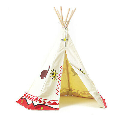 Wigwam Teepee Play Tent 100% Cotton Canvas Children's Tipi with Wooden Poles