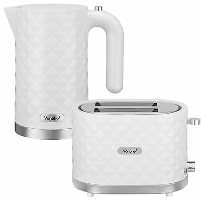 VonShef 3000W 1.5L White Diamond Electric Kettle & 2 Slice Wide Slot Toaster Set