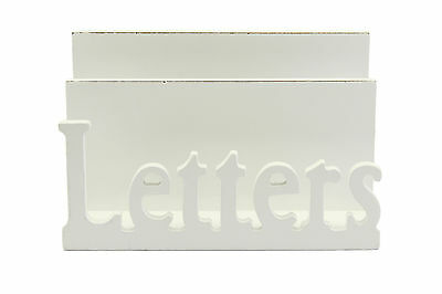 Distressed White Wooden 'Letter' Rack -16x10x7cm - Shabby Chic