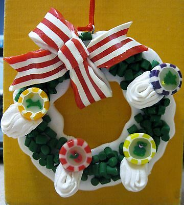 "Christmas Ornament CANDY WREATH Plastic 3-1/2"" Across Free Shipping BOX #A-24"