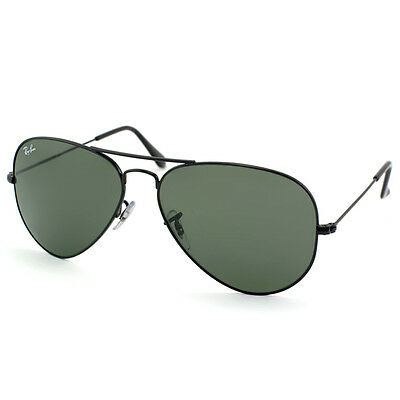 New Ray-Ban Unisex RB3025 L2823 Aviator Black/Green G-15XLT 58mm Lens Sunglasses