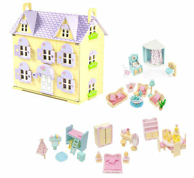 Berrybee Cottage Wooden Dolls House with Furniture Childrens Kids Dollhouse Set