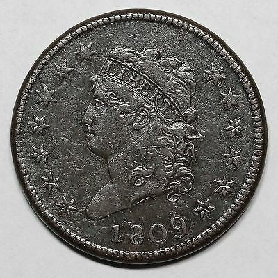 1809 S-280 R-2 E-MDS Classic Head Large Cent Coin 1c