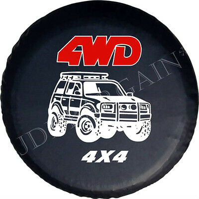 "29"" Spare Wheel 4WD Tyre Cover Elasticated Bag Size 15'' Black 4x4 Logo 737 mm"