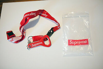 Supreme Red Lanyard Key Ring Chain with Bottle Opener Keychain