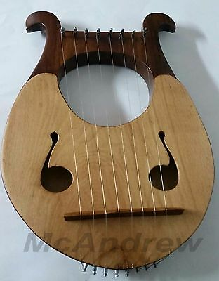 New BEECHWOOD Lyre Harp 8 Strings with Tuning Key Free Carrying Case