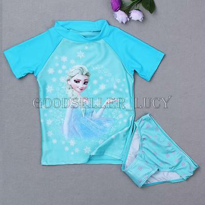2PCS Girls Kids Princess Rash Guard Swimsuit Swimwear SPF50+ Cool Summer Promo!