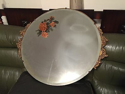 Antique Round Decretive Rose Printed Beveled Edge Mirror