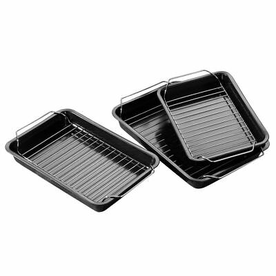 Set of 3 Baking Roasting Oven Tin Trays with Wire Racks Grill Non-Stick