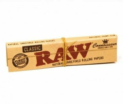 RAW Connoisseur King Size Slim and Tips Classic Rolling Papers 32 leaves