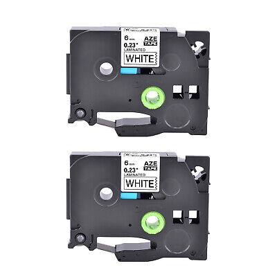 2PK 6mm Black on White Label Tape TZ TZe 211 For Brother P-touch PT-1100 PT-1880