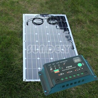 SUNDELY 100W Semi Flexible Back Contact Solar Panel Kit 10A Charge Controller PV