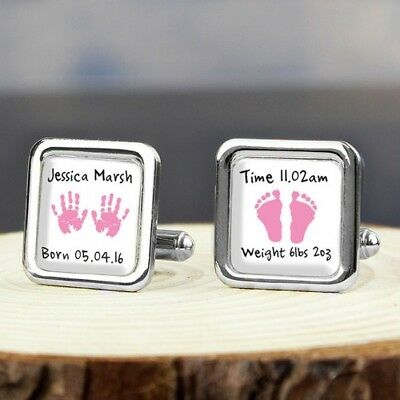 Personalised - Pink Hands and Feet Cufflinks