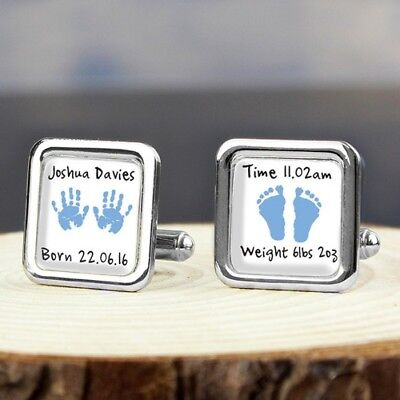 Personalised - Blue Hands and Feet Cufflinks