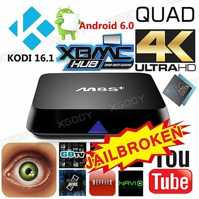 Fully Loaded KODI XBMC 4K M8S+ Quad Core Android Smart TV Box Free Sports Movies