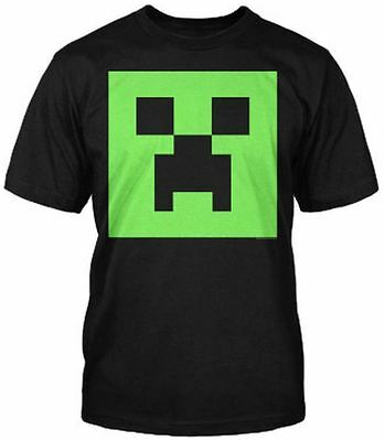 MINECRAFT Official Mine Craft CREEPER FACE GLOW T-Shirt Black Youth T Shirt
