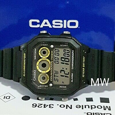 Casio Collection AE-1300WH-1A Black Illuminator Chronograph Gents Men's Watch