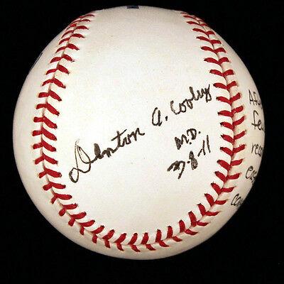 Denton A. Cooley - Annotated Baseball Signed 03/08/2011