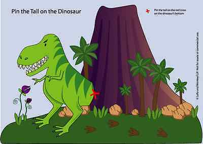 Pin The Tail on the Dinosaur Party Game and more SENT BY CD or email