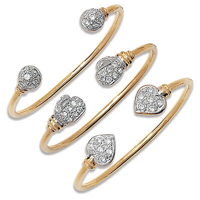 Hallmarked Solid 9ct Yellow Gold Cubic Zirconia Torc Baby/Kids Bangle
