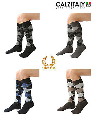 Argyle Rich Cotton Socks For Men Warm Cotton Knee High Made In Italy