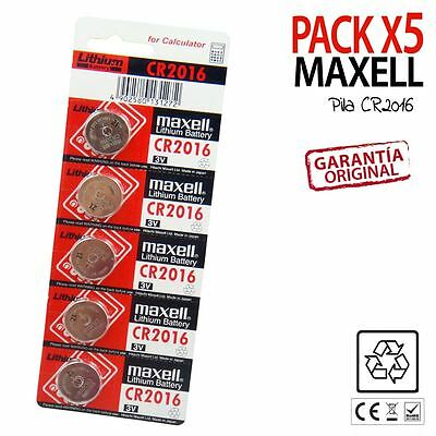 PACK X5 PILAS BOTON MAXELL CR2016 Litio