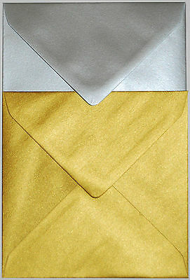 "Superb Quality 155mm x 155mm Square (6"") 100GSM Metallic Gold Silver Envelopes"