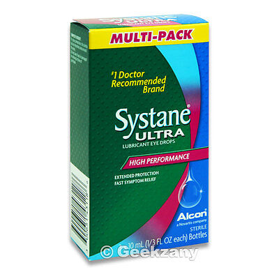 Systane Ultra, Lubricant Eye Drops,3 Bottles, 1/3 oz Each, Easy Symptom Relief