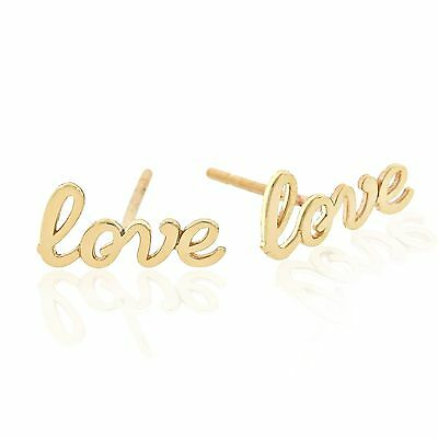 "Charm America - Gold ""Love"" Earrings - 14 Karat Solid Gold"