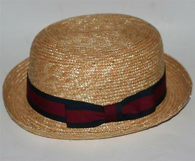 NAUTICAL Italian Venice Natural Color WHEAT STRAW BOWLER DERBY BOATER HAT New
