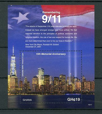 Ghana 2016 MNH Remembering 9/11 15th Memorial Anniv 1v S/S Ground Zero Stamps
