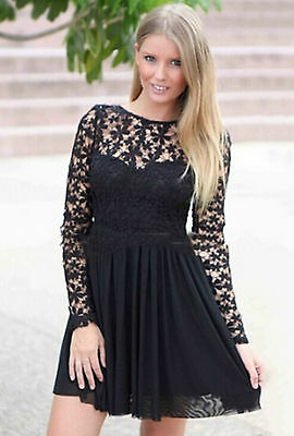 Mini Abito nudo trasparente gonna top pizzo Nude Dusty Skater Dress Lace Mesh