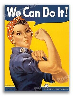 """""""We Can Do It!"""" Rosie the Riveter Vintage Style 1943 World War 2 Poster - 18x24"""