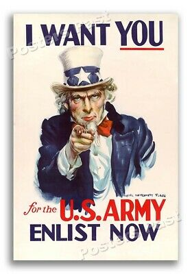 """1940 """"I Want You for the U.S. Army"""" Vintage Style WW2 Poster - 16x24"""