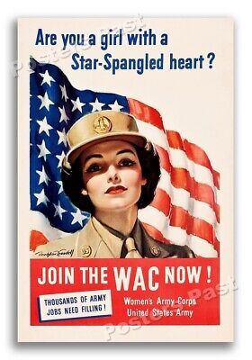 """1940s """"Join the WAC now!"""" WWII Historic Propaganda War Poster - 16x24"""