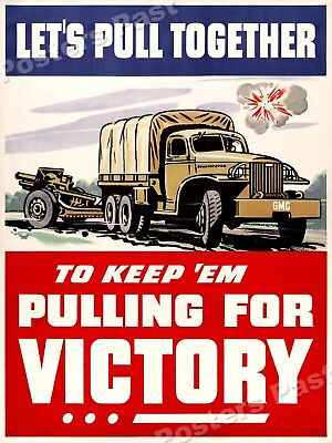 """1942 """"Pulling For Victory!"""" Vintage Style WW2 Army Poster - 18x24"""