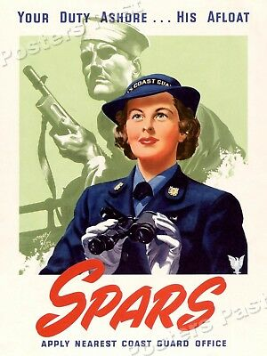 """1944 """"Join the SPARS"""" Vintage Style WW2 Coast Guard Poster - 20x28"""