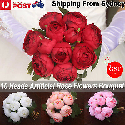 New 1X Bouquet Artificial Rose Flowers White Red Pink Silk DIY Wedding Bridal De