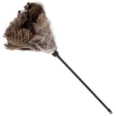"""One Grey First Grade  Ostrich Feather Duster 28 """" Overall 700Mm Plastic Handle"""