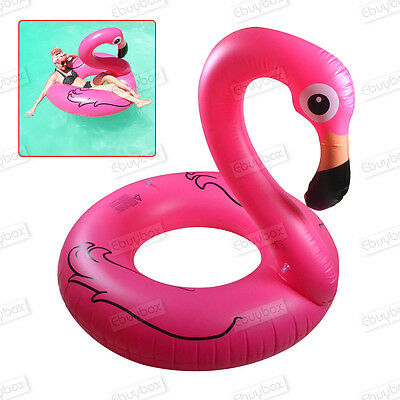 Adult Pink Inflatable Giant Flamingo Shaped Pool Float Ring Raft Swimming Water