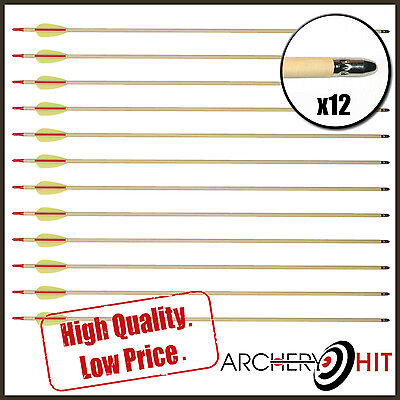 "12 x 30"" WOODEN TARGET ARROWS FOR LONG BOWS, COMPOUND BOWS OR RECURVE BOWS"