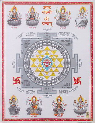"Shri Shree Yantra, Eight Lakshmi Avatars - POSTER (9""x11"")"
